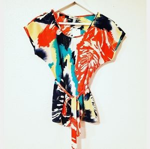 Beth Bowley Multicolor Abstract Belted Top
